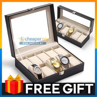 Premium PU Leather Watch Display Storage Box Case 10 Slots or 6 Slots