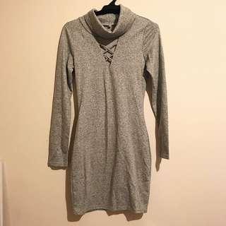 Grey Turtle Neck Bodycon Dress XS / 6-8