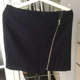 H&M Pinstriped Zipper Skirt