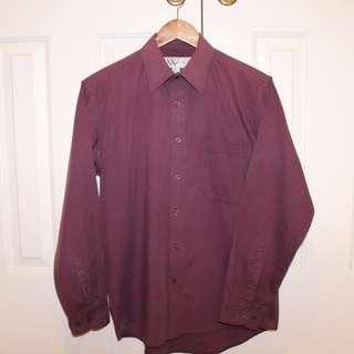 Whitmont Vintage Burgundy Slim Fit Shirt