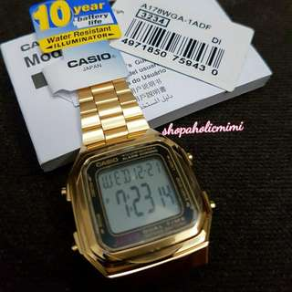 AUTHENTIC CASIO VINTAGE WATCH IN GOLD TONE