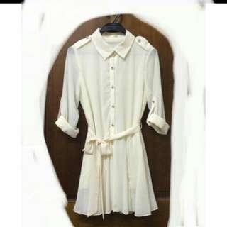韓國雪紡氣質綁帶飄逸洋裝
