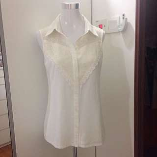 Off white lace sleeveless top/ office wear