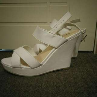 -Naughty Monkey- White Wedge Heels