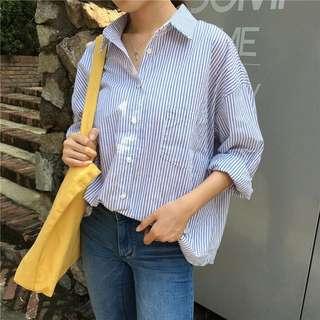寬鬆豎條紋翻領襯衫