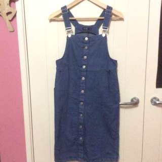 Below The Knee Blue Denim Overall Dress