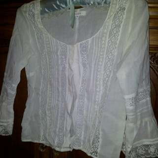 Cotton Top With Lace Inset