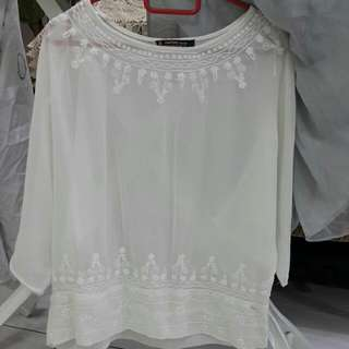 Mango MNG Embroidery Lace Blouse
