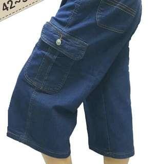 42~52腰正統雙側袋伸縮加大牛仔七分褲工作褲