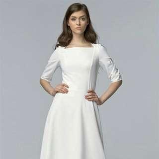 Ecru Square Neck Dress Knee Length A Line