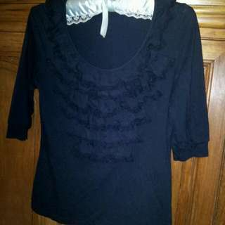 Black Cotton Shirt With Ruffles