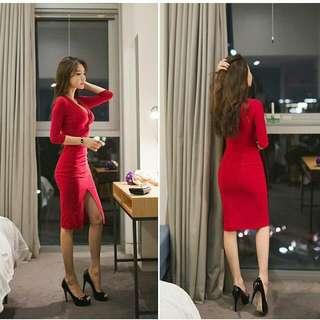 Deep V Neck Front Slit Bodycon Dress RED