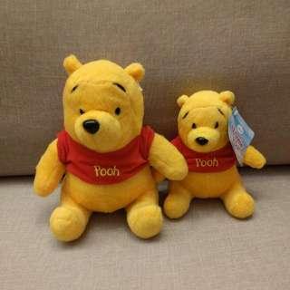 小熊維尼 Winnie The Pooh毛公仔1大1小