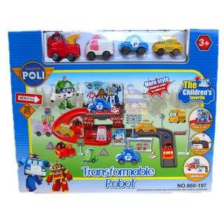 Mainan Anak Lucu Transformable Parking Robocar Poli 660-197. Source. ' Robocar Poli Car Track with 4 Mini Cars (660-197)