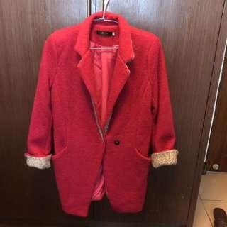 厚棉長版西裝外套