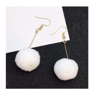 Elegant White Fuzzy Ball Earrings