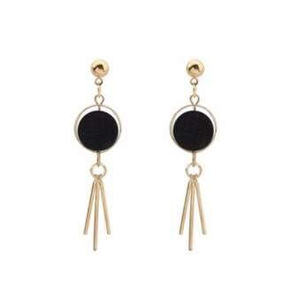 Black Fuzzy Ball Earrings