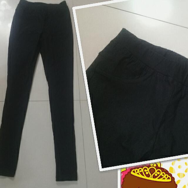黑色,桃紅色彈性長褲,內搭褲,有口袋長褲