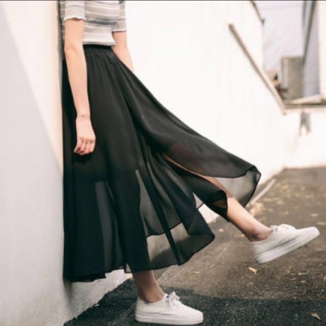 韓版 黑色質感紗裙 長裙 不規則透視 網紗