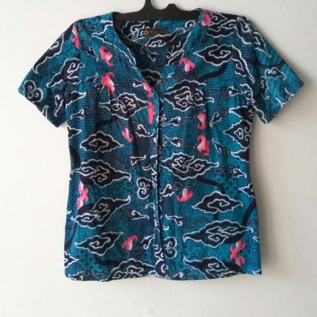 Sale Atasan (Shirt) Big Size Batik Biru Size XL