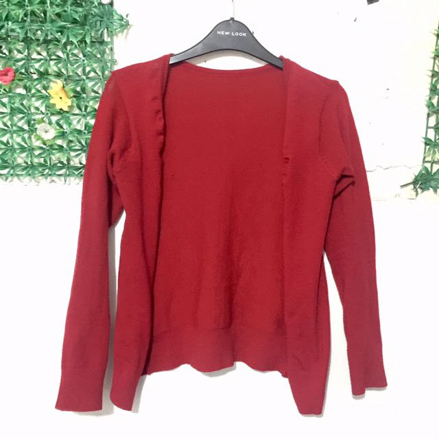 Basic Cardigan Red Knit