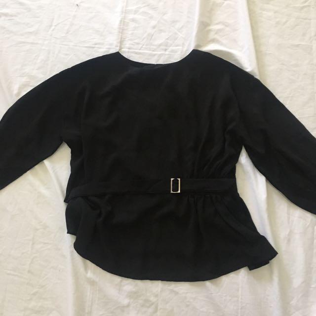 Belt Blouse In Black