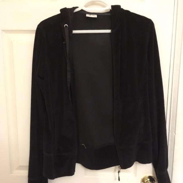 Black Velour Like Sweater