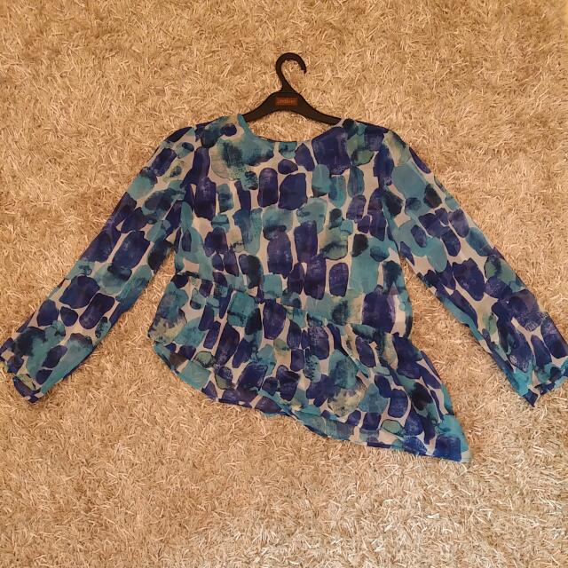 Blue Asymmetric Blouse