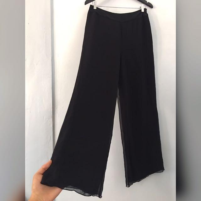 BNWOT (Paris-based designer) RENATO NUCCI silk chiffon wide-leg trousers