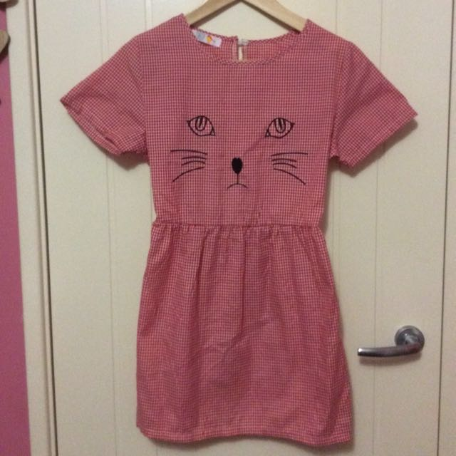 Cheep Red And White Check Cat Dress