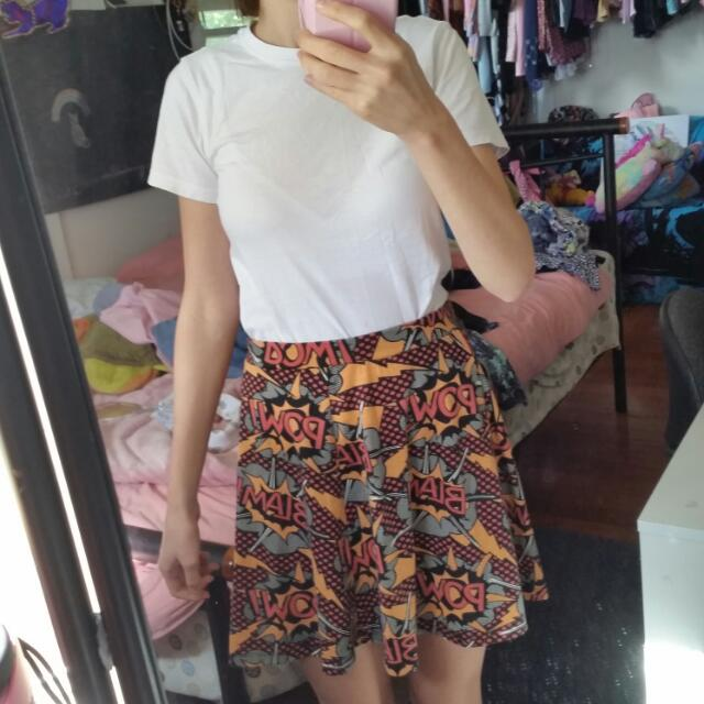 Comic Book / Super Hero Pattern Skater Skirt