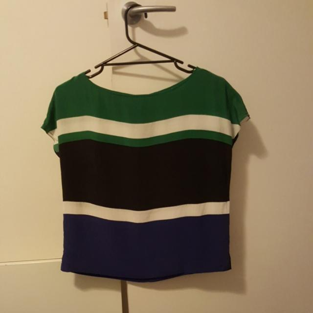 Country Road Silk Tri Colour Top Size S