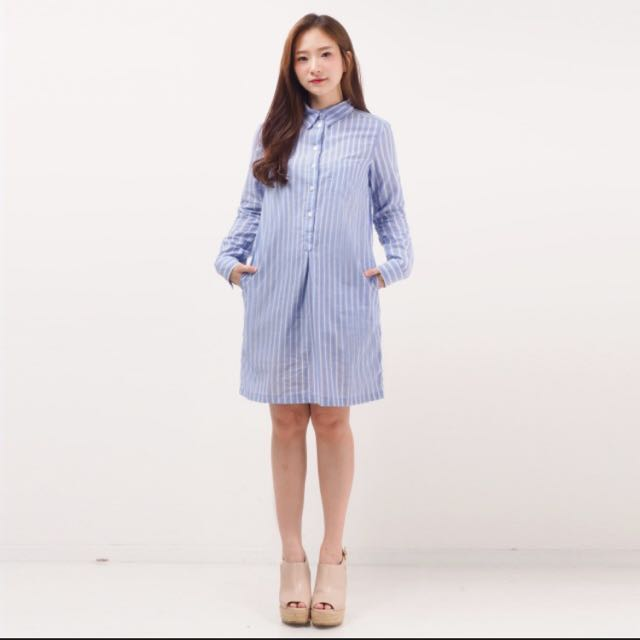 Dress Kemeja Garis2 Biru