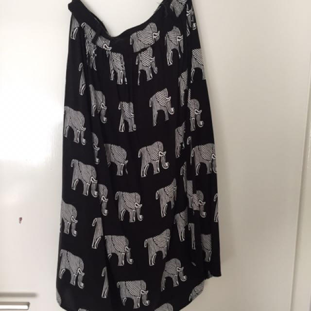 Elephant Pattern Midi Skirt