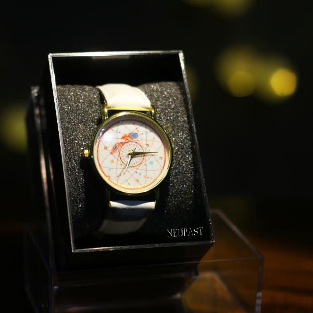 SALE Feather Print Watch (Mint/Black/White Strap)