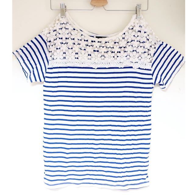 (保留)韓牌H CONNECT藍白條紋短袖上衣