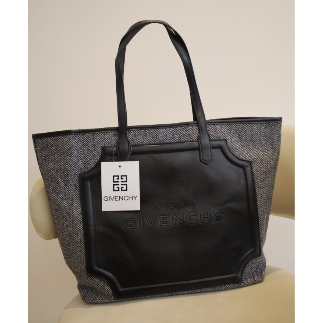 Instock! GIVENCHY PARFUM (Grey) Canvas PU Leather Tote Bag ASC369 + ... a679bf5fc9