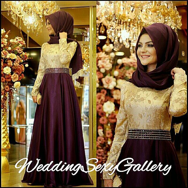 #5🌹▪Pre - Order▪🌹 Long Sleeve Muslim Prom Dress Bow Purple Lace Dubai Moroccan Kaftan Hijab Evening Dresses