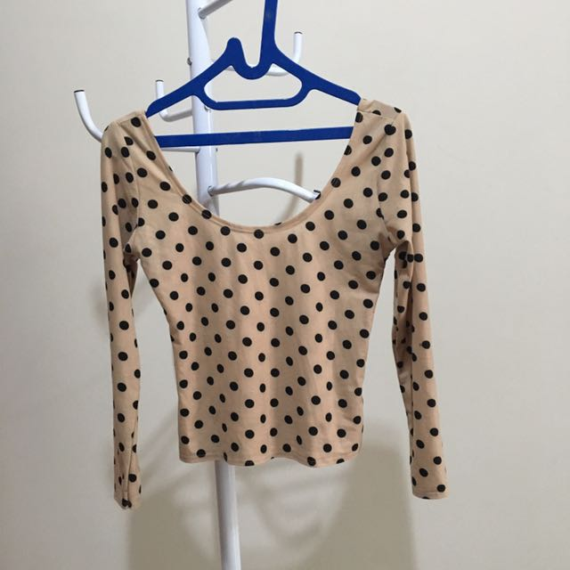 Low Back Long Sleeves Polka Top