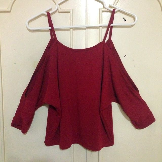 Maroon Off-Shoulder Top