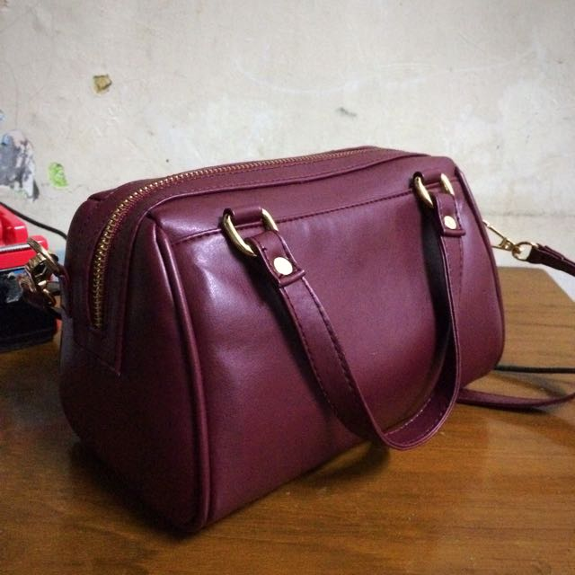 Mini Bowler Bag Maroon Sling Bag