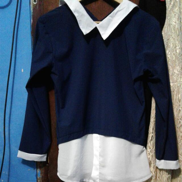 Reprice Navy Blouse