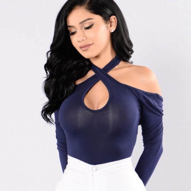 Fashion Nova Navy Blue Off Shoulder Bodysuit