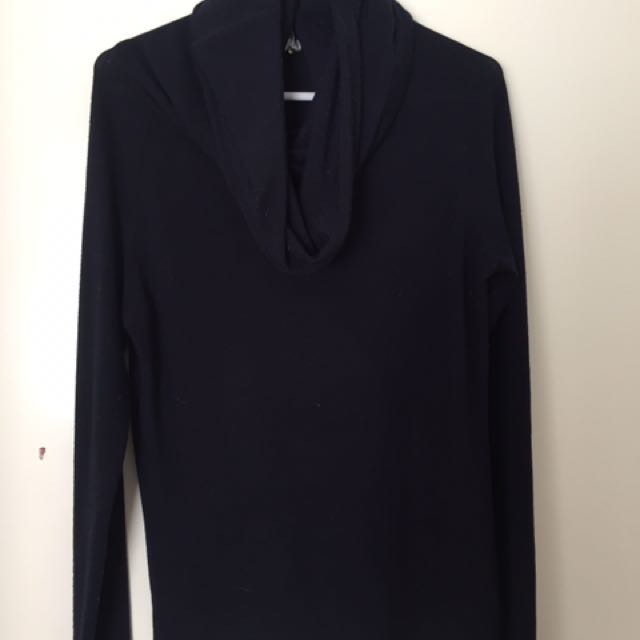 Navy Blue Turtle Neck Top