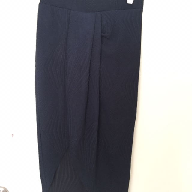Navy Wrap Front Midi Skirt