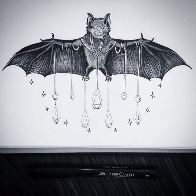 Original Pen And Marker Drawing Of Bat And Prisms