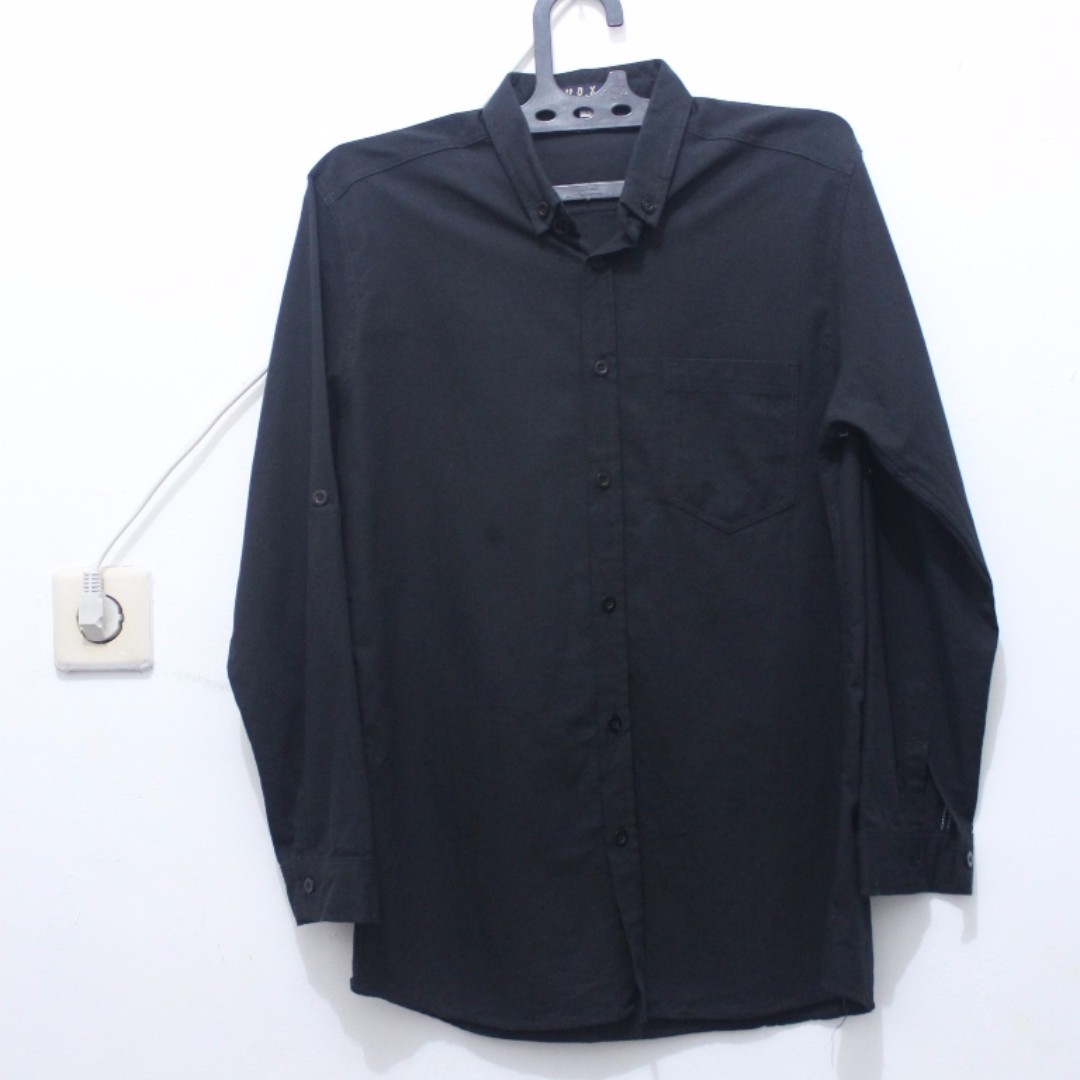 Oxford Black-Black Button Down Long Shirt