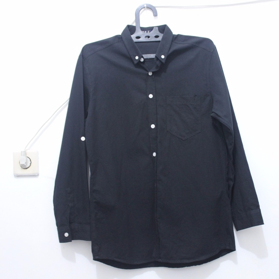 Oxford Black-White Button Down Long Shirt