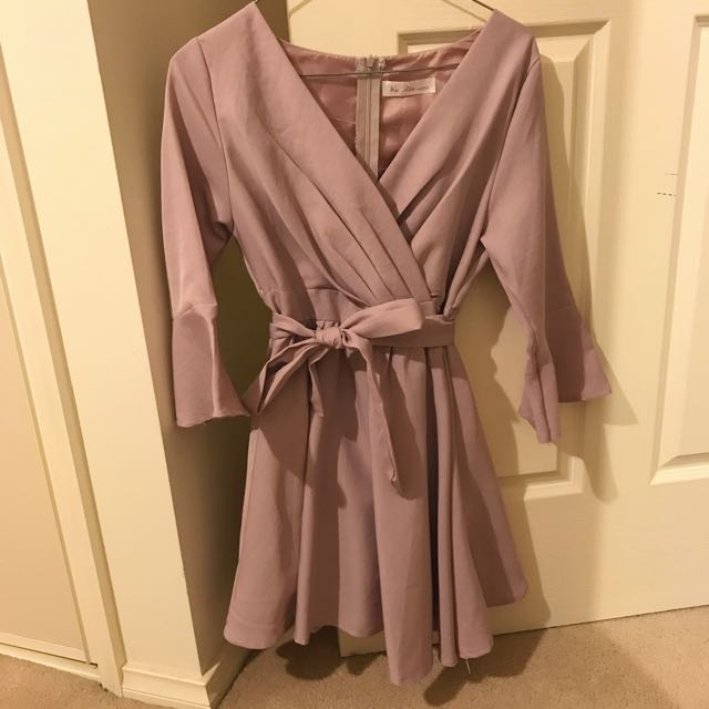 Purple Bell Sleeve Dress with Tie Waist Size 6-8