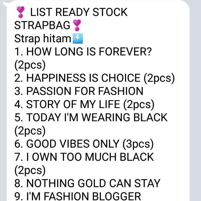 Ready Strap Bag ..buruan Order Yuk Sblm Libur Panjang Lebaran